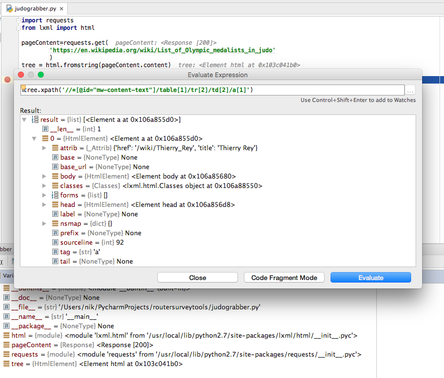 XPath testing using 'evaluate expression' in PyCharm debug mode