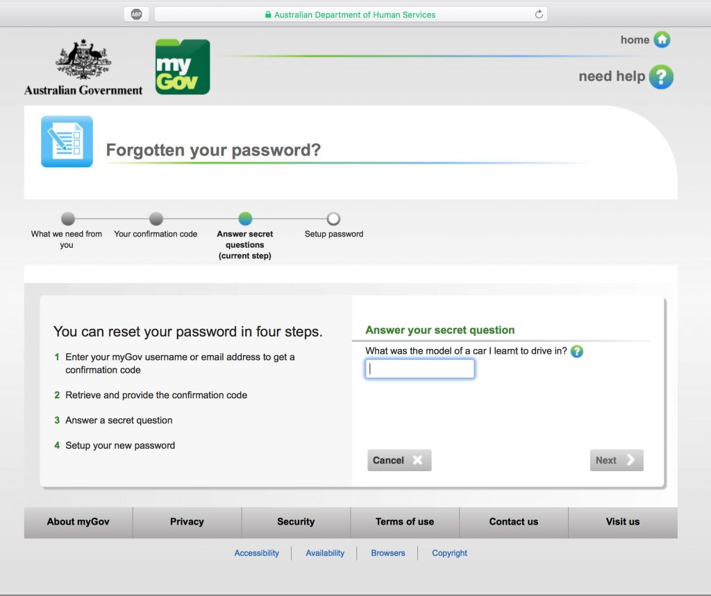 myGov password reset - extra security, a secret question