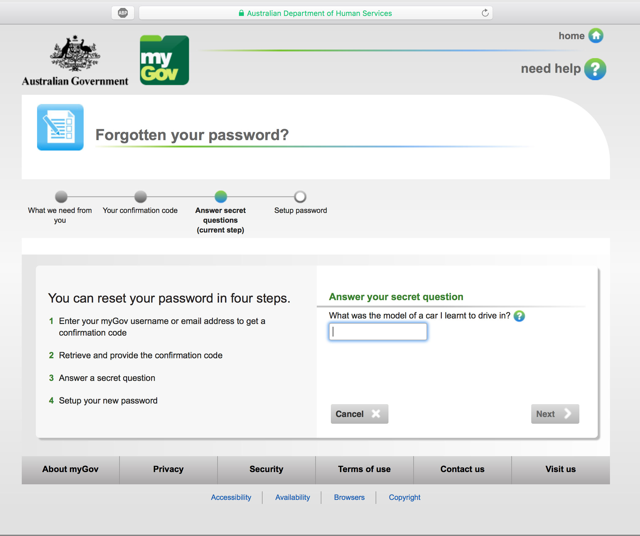 how to change security questions on mygov